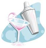 Martini retro e abanador Fotos de Stock Royalty Free