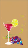 Martini Rosso. Still Life with Grapes and martini rosso Stock Images