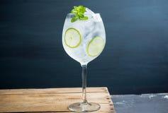 Martini royalecoctail i vinexponeringsglas med limefrukt och mintkaramellen royaltyfria bilder
