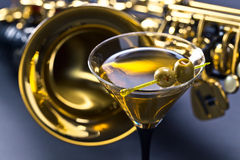 Martini and sax Royalty Free Stock Images