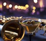Martini and saxophone Royalty Free Stock Photos