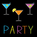 Martini set on black background. Cocktail party ca. Rd. Vector illustration Royalty Free Stock Photo