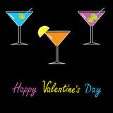 Martini set on black background. Happy Valentines  Stock Photography