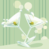 Martini splash. Illustration of two glasses of martini with green olives royalty free illustration