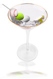 Martini and sport ball olives Royalty Free Stock Image