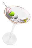 Martini and sport ball olives Royalty Free Stock Photography