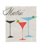 Martini Stylized Retro Illustration With Lettering Royalty Free Stock Images