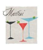 Martini Stylizował Retro ilustrację Z literowaniem Obrazy Royalty Free