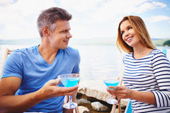 Martini sulla spiaggia fotografia stock