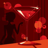 Martini time. Couple drinking martini and a glass of martini on the front royalty free illustration