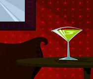 Martini Time. Tall, martini in a sparkling glass - poured and ready to be sipped in a posh setting - sofa mirror and starry red wall in background Royalty Free Illustration