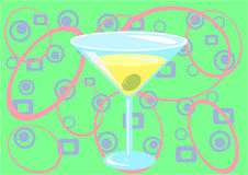 Martini time! (green). Illustation of Martini glass - drink and confetti Royalty Free Stock Photography