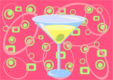 Martini time! (pink). Illustation of Martini glass - drink and confetti Royalty Free Stock Image