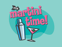 Martini Time Vector Design. Retro  design of cocktail shaker and martini glass. Fully  and scalable Royalty Free Stock Images