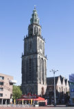 Martini Tower in Groningen City, the Netherlands. The Martinitoren or St. Martin's Tower is the highest church steeple in the dutch city of Groningen and the Stock Images