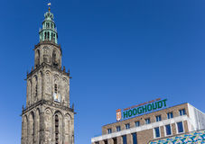 Martini tower and Vindicat building in Groningen Royalty Free Stock Images