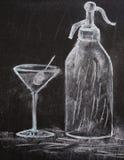 Martini-und Sodazeichnung   Lizenzfreies Stockbild