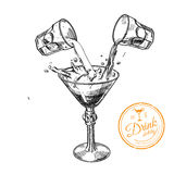 Martini vector glass. With abstract splash, hand drawn illustration vector illustration
