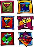 Martini Vector Illustrations. Vector Illustrations of Martini Glasses Stock Photo
