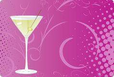 Martini on violet halftone background. Martini glass on violet halftone background with swirl design Stock Images