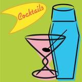 Martini y coctelera retros stock de ilustración