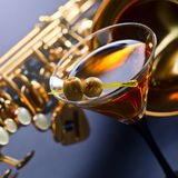 Martini y saxofón Fotografía de archivo libre de regalías