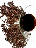 Martiniglass glass liqueur beans coffeebean. Coffeebeans bean drink beverage whitebackground Royalty Free Stock Image