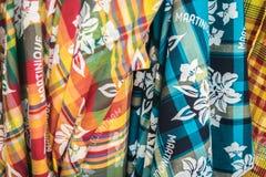 Martinique colorful fabric. Blue, orange, yellow, green colorful vibrant fabric in Martinique Royalty Free Stock Image