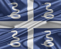 Martinique flag with a glossy silk texture. Royalty Free Stock Image