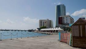 Martinique-pir plats med marknadsplatsen och stads- byggnader Royaltyfri Fotografi