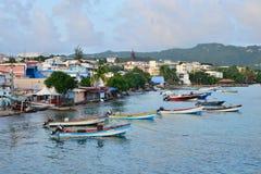 Martinique pittoresk stad av Sainte Luce i västra Indies arkivfoton