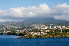 Martinique Resorts Beneath Foggy Mountain Royalty Free Stock Image