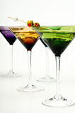 Martinis in colorful glasses Stock Photography