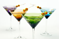 Martinis in colorful glasses royalty free stock photo