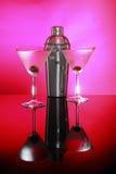 martinis różowią potrząsacz stal Fotografia Royalty Free