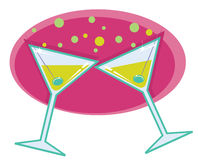 Martinis retro style illustration. Stock Images