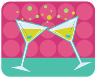 Martinis retro style illustration. Royalty Free Stock Photography