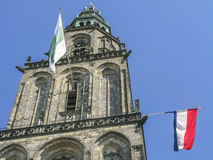 Martinitower in Groningen, The Netherlands with flags Royalty Free Stock Image