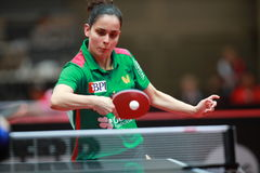 MARTINS Catia backhand. Qualifications Group at the World table tennis championships in Dusseldorf. 29 May 6 june 2017 Royalty Free Stock Photo