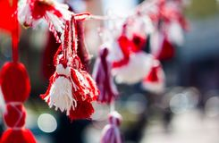 Martisor closeup in sunny weather with blurred background and bokeh. royalty free stock photo