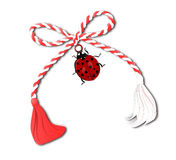 Martisor with ladybug  on white Royalty Free Stock Photo