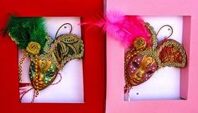 Martisor, symbole pour le prochain ressort. Masques vénitiens 3 Image libre de droits