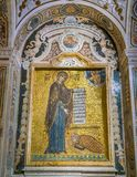 Golden mosaic in The Martorana Cathedral of Saint Mary of the Admiral in Palermo. Sicily, Italy. stock image