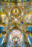 The golden dome with Christ in throne in The Martorana Cathedral of Saint Mary of the Admiral in Palermo. Sicily, Italy. royalty free stock image