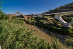 Martorell. Bridge of the Devil, Martorell. Crossing viaduct on the river Llobregat to hisher,your step along Martorell, region of the Baix Llobregat, Barcelona Stock Photos