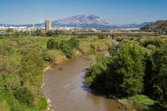 Martorell. The river Llobregat to his step along Martorell, region of the Baix Llobregat, Barcelona, Catalonia, Spain Stock Photography