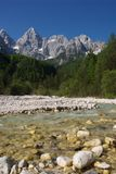 Martuljek river and Mt. Spik Royalty Free Stock Photo