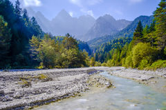 Martuljek river. With the Špik mountain in the backround Royalty Free Stock Photo