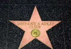 Marty凯特和在好莱坞星光大道的阿什利欧尔森星 库存图片