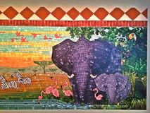 Marty and the Jungle Mural (selected portion). Marty and the Jungle Mural - selected portion showing the elephants, flamingoes and other animals, based on the Royalty Free Stock Photography